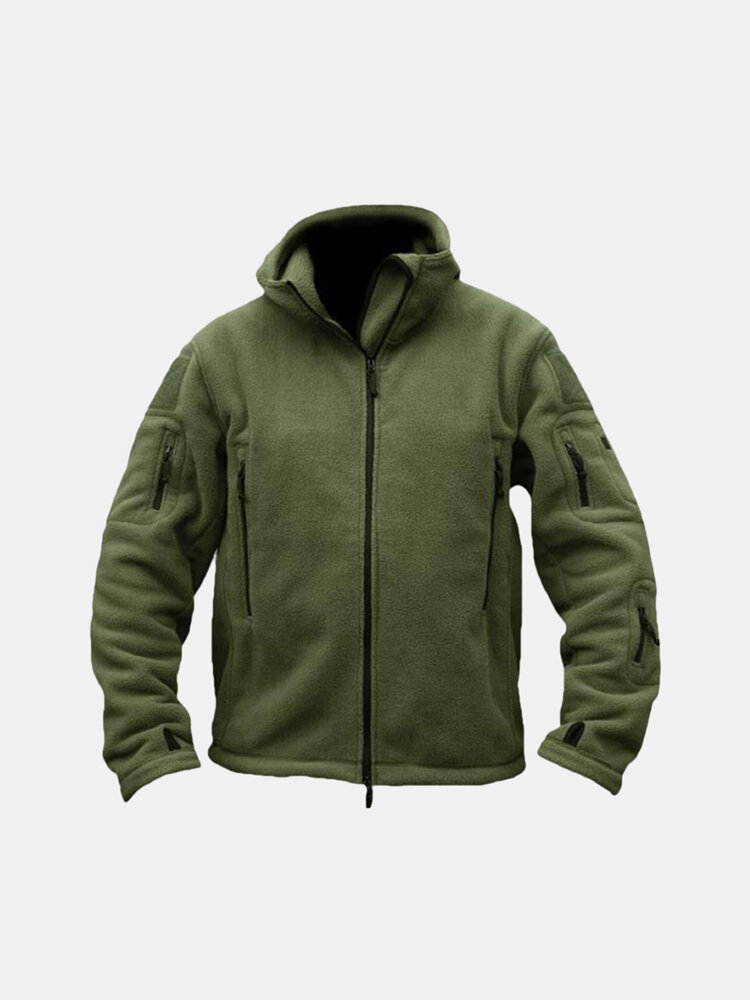 Men Tactical Military Multi-Pockets Fleece Hooded Outdoor Jacket ...