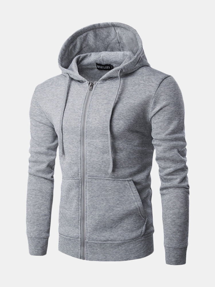 Zip Up Solid Color Sport Hoodies