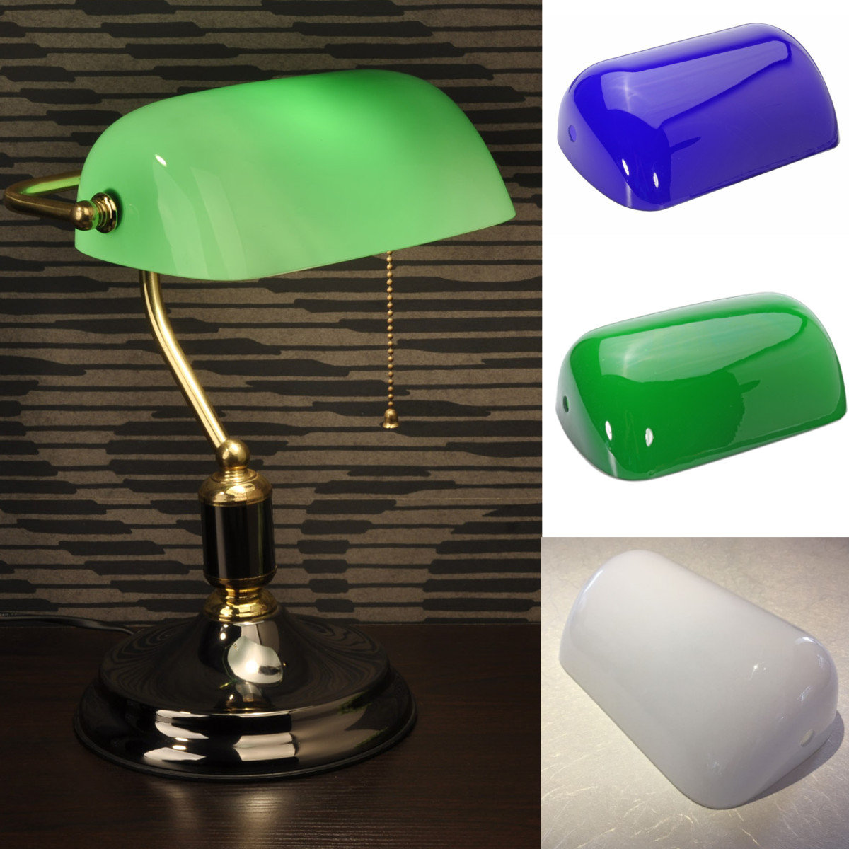 Glass banker lamp shade cover cased replacement lampshade 9 x 5 1 glass banker lamp shade cover cased replacement lampshade 9 aloadofball Choice Image