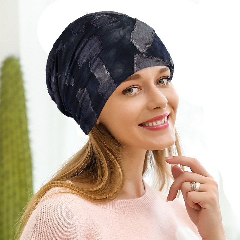 Womens Camouflage Cotton Beanie Hat, Navy blue pink