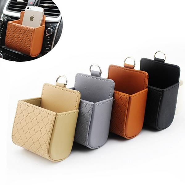 Auto Air Vent Car Storage Bag Multi Functional Pu Phone Ditty