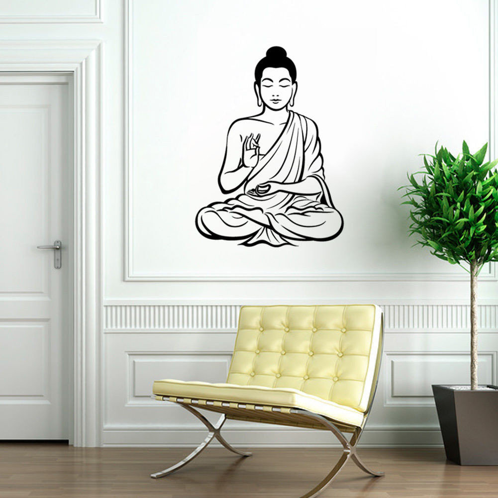 Wall Sticker Meditating Buddha Vinyl Decal DIY Removable Art Mural Home  Decor
