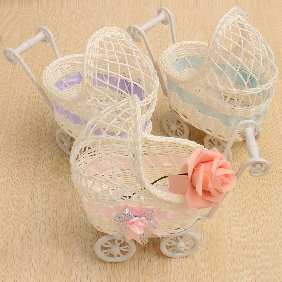 Trolley Cradle Weaving Rattan Basket Storage Bedroom Living Room Home Decor, Pink purple blue