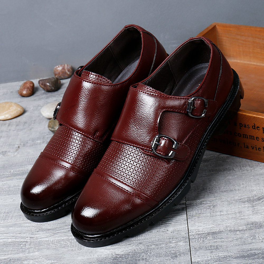 Men Leather Non-slip Double Monk Shoes, Black yellow brown green red wine brown
