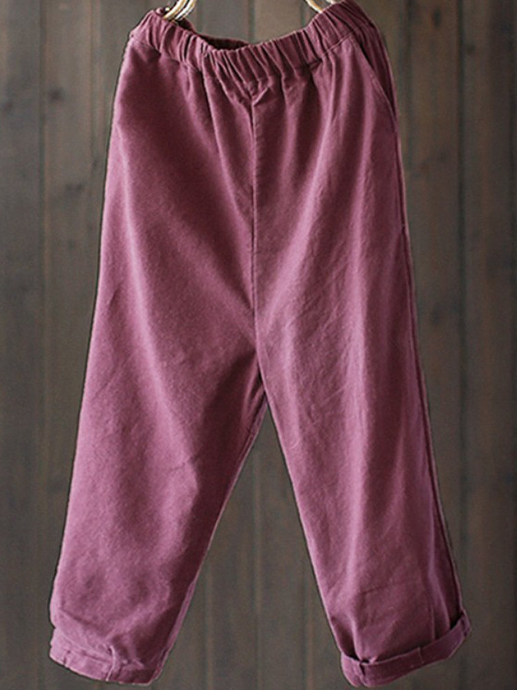 Loose Solid Color Harem Pants, Coffee red