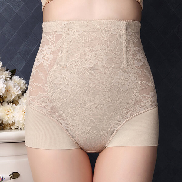 Comfy Lace Jacquard Mesh Hip-lifting Underwear High Waist Breathable Tights Thin Shapewear, Black nude