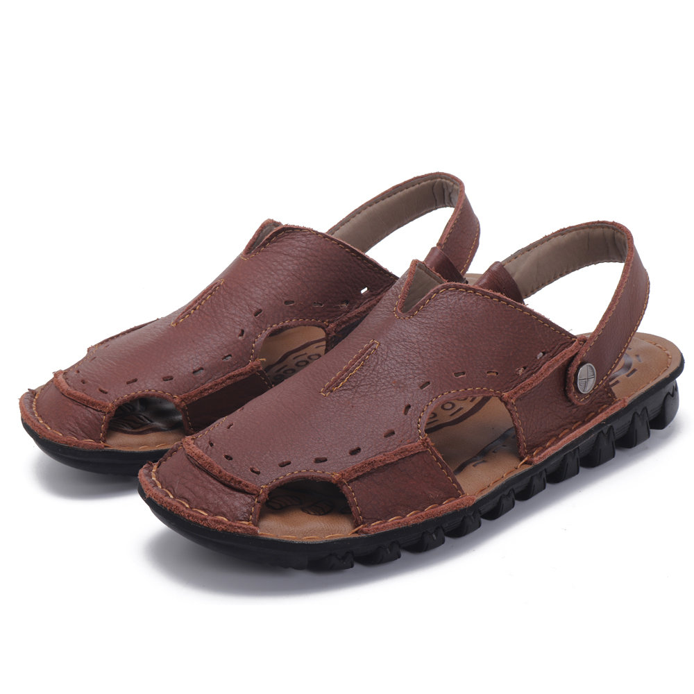 Men Genuine Leather Closed Toe Outdoor Sandals, Brown