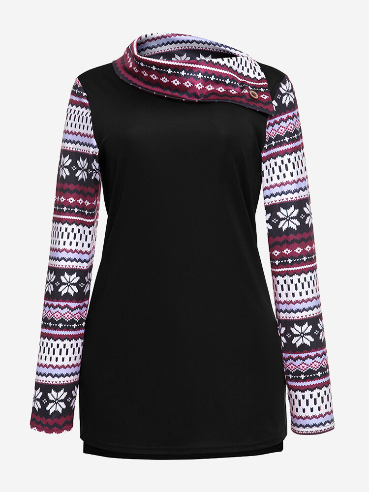 Vintage Printed Patchwork Turtleneck Women Sweatshirts