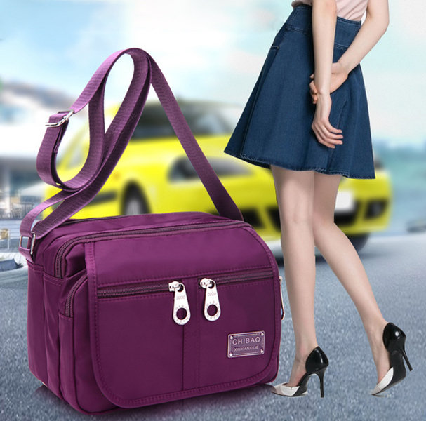 Women Nylon Crossbody Bag Square Shoulder Bag Multi-pocket Bag