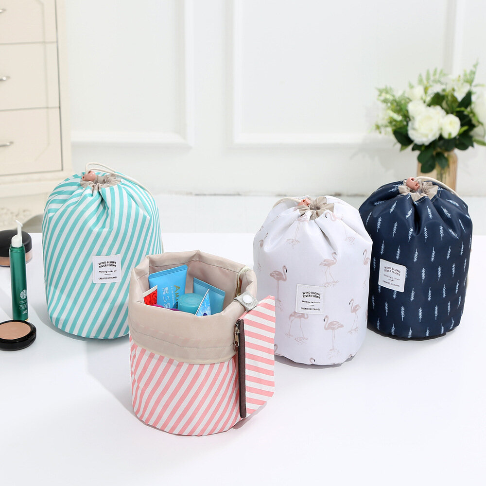 Oxford Cloth Travel Cosmetic Storage Bag, Pink blue white navy blue