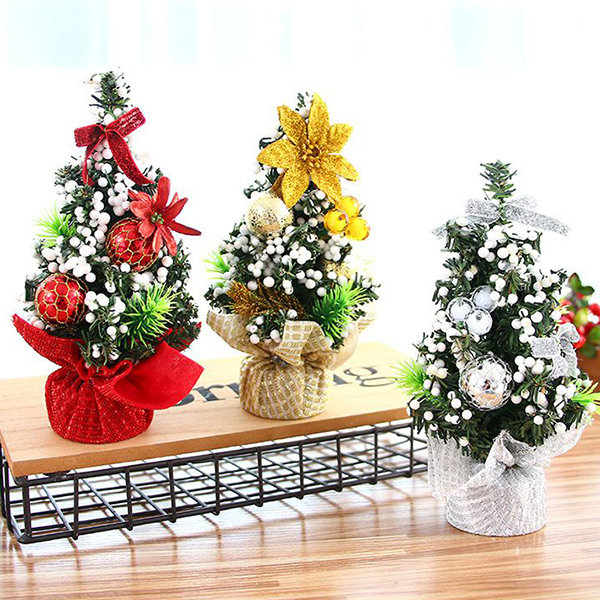 20cm mini christmas tree decorations exquisite decorations small trees with jewelry for home party - Mini Christmas Tree Decorations