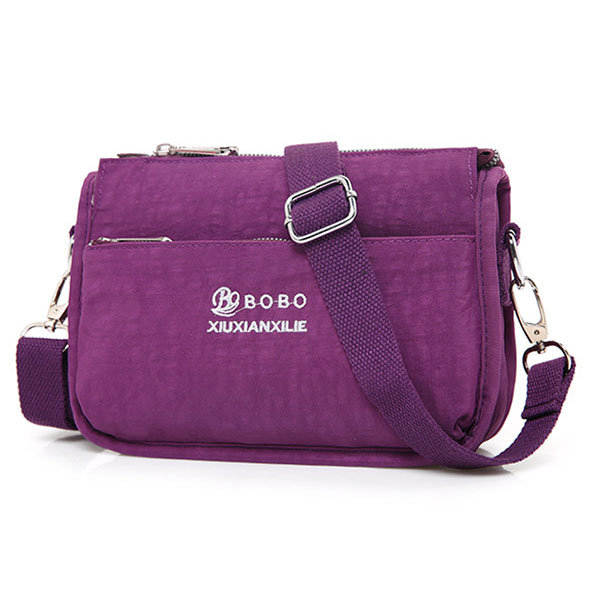 Waterproof Nylon Light Casual Shoulder Bag Crossbody Bag For Women, Purple rose wine red blue black