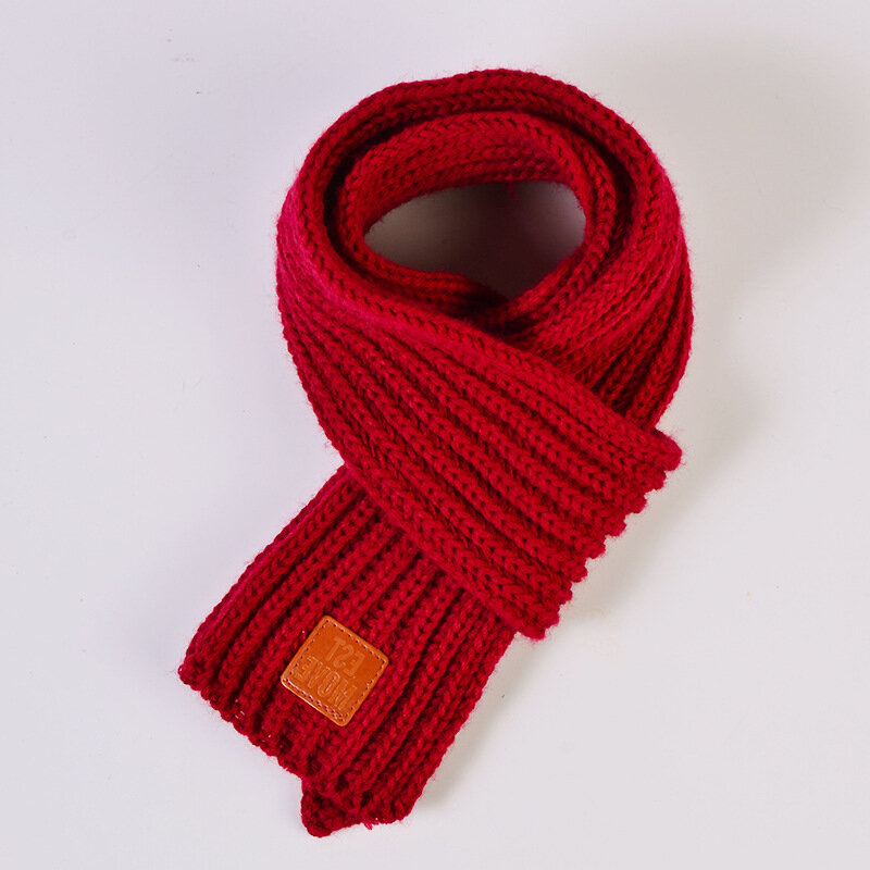 Kids Winter Knitted Scarves For 0-5 Years, Red yellow green black grey wine red white