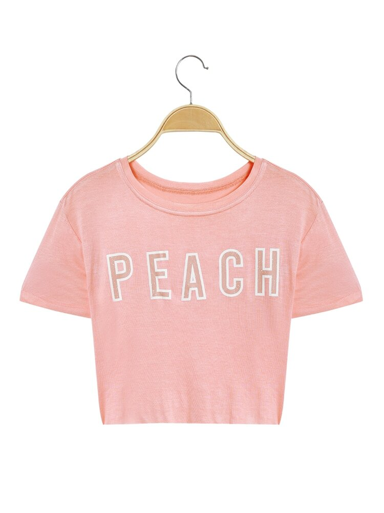 Short Sleeves Peach Letter O-neck T-shirts For Women