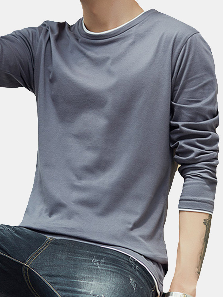 95%Cotton Breathable Well-absorbent Tee, White black blue gray light gray