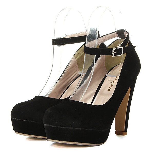 Suede Pure Color High Heel Shoes - NewChic