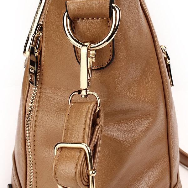 Bolso bandolera retro en marrón con cremalleras laterales para mujeres