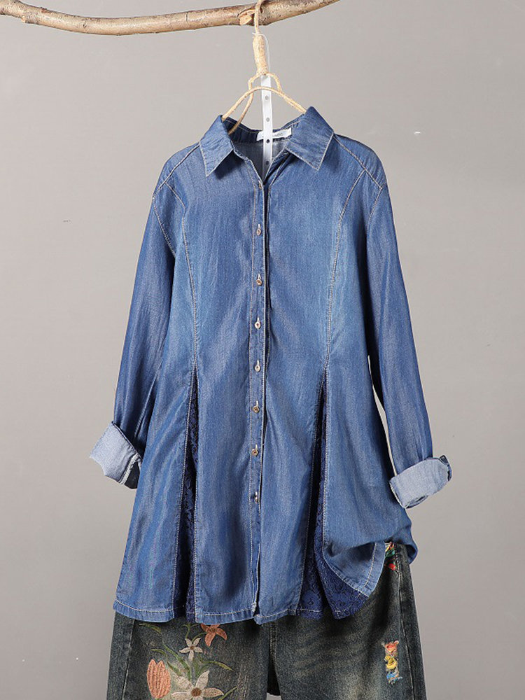 Lace Patchwork Denim Vintage Shirts