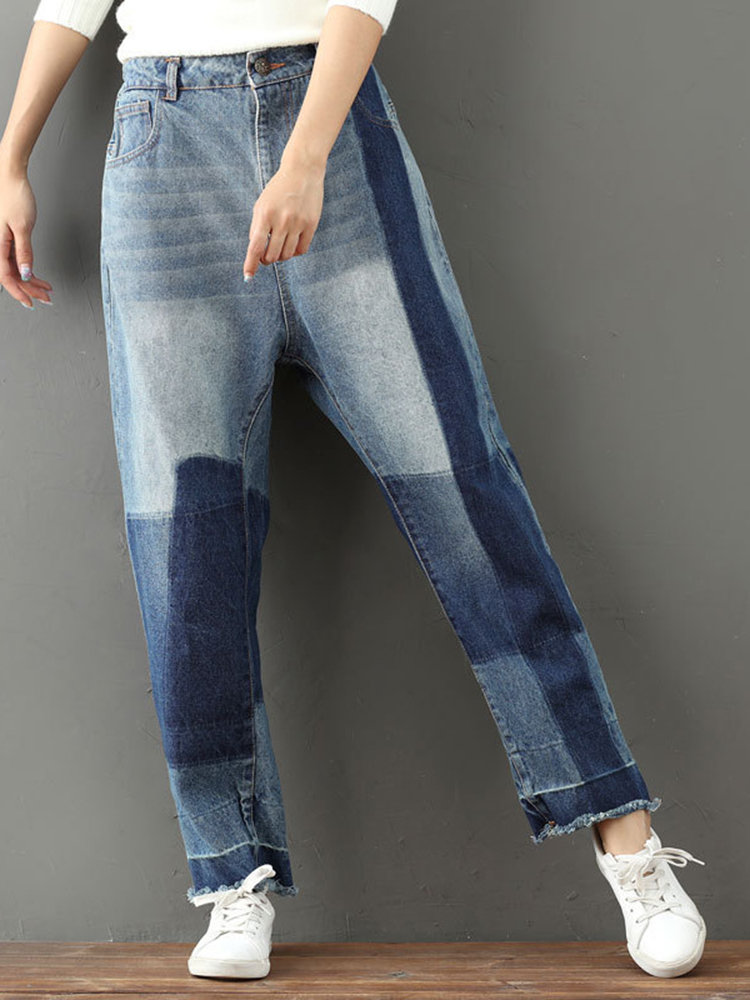 Casual Loose Ankle-length Women Jeans, As picture shows