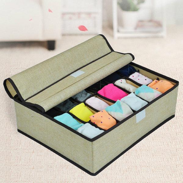24 Lattice Socks Underwear Storage Bags Folding Organizer Non Woven  Portable Storage Container