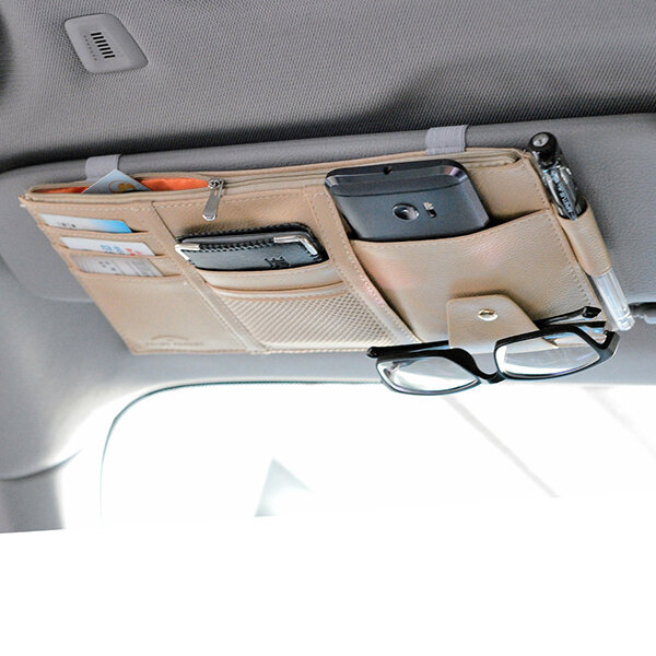 Favorable Multifunctional Leather Car Storage Bag Visor Cover Card