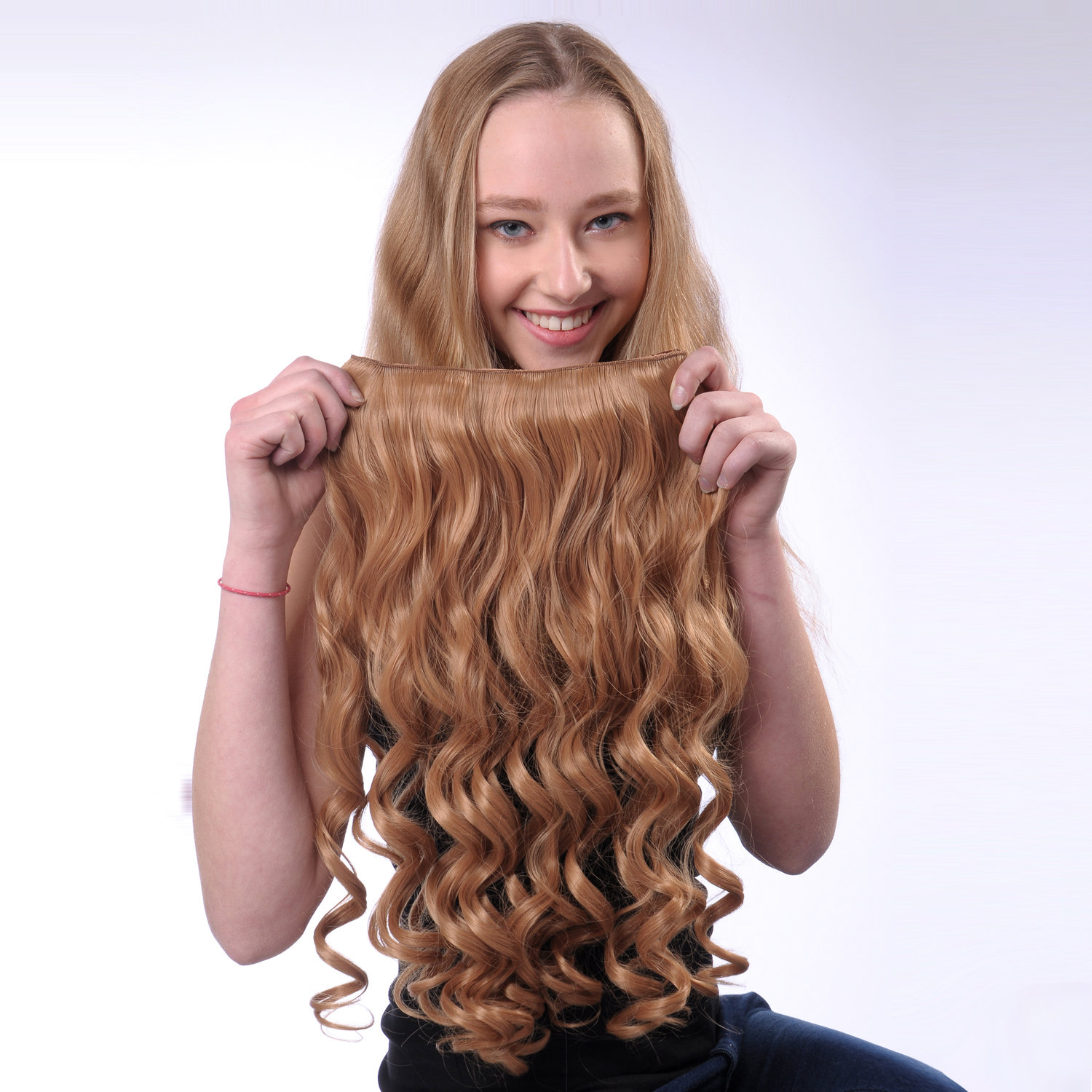 1pc Clips Synthetic Long Curly Clip In Hair Extensions Hairpiece For