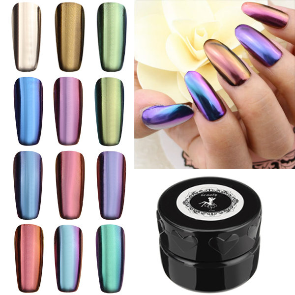 12 Colors Magic Mirror Chrome Effect Metallic Powder Set Nail Art ...