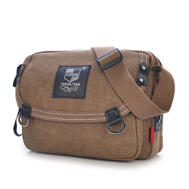 Vintage Canvas Messenger Bag Shoulder Bag Crossbody Bag, Khaki grey army green