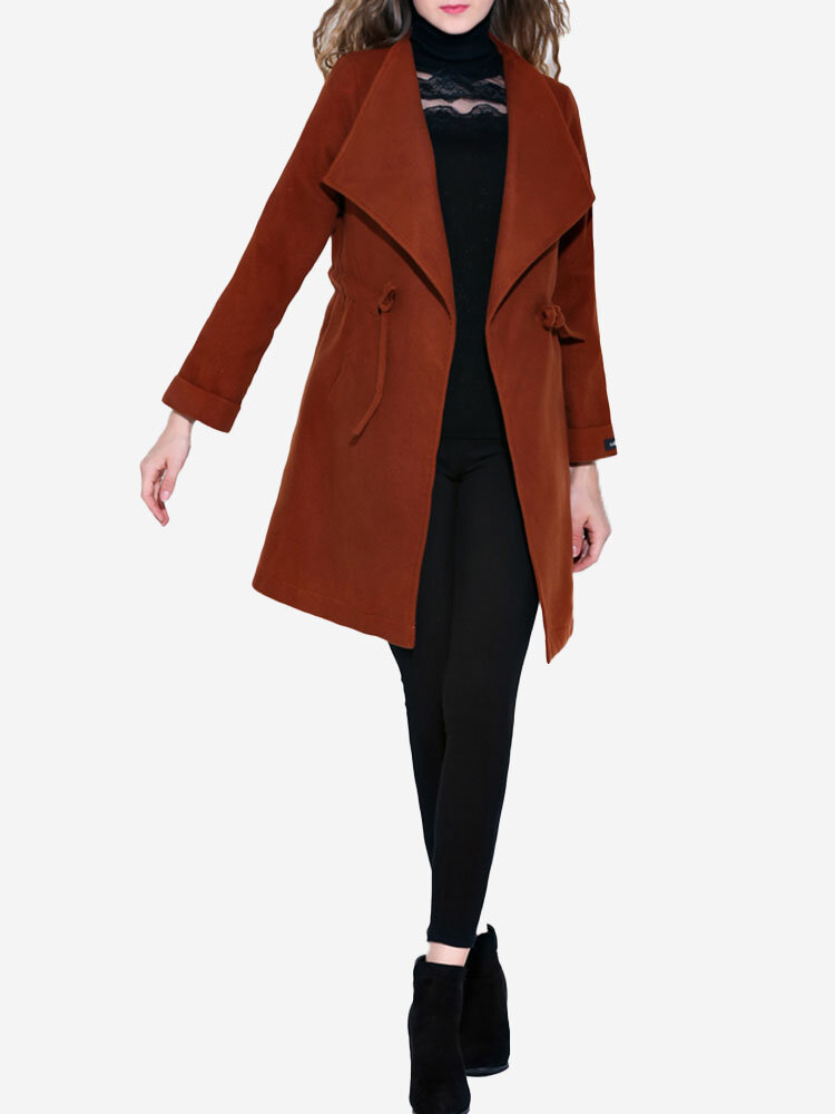 Casual Lapel Drawstring Wool Coat For Women, Dark camel dark green