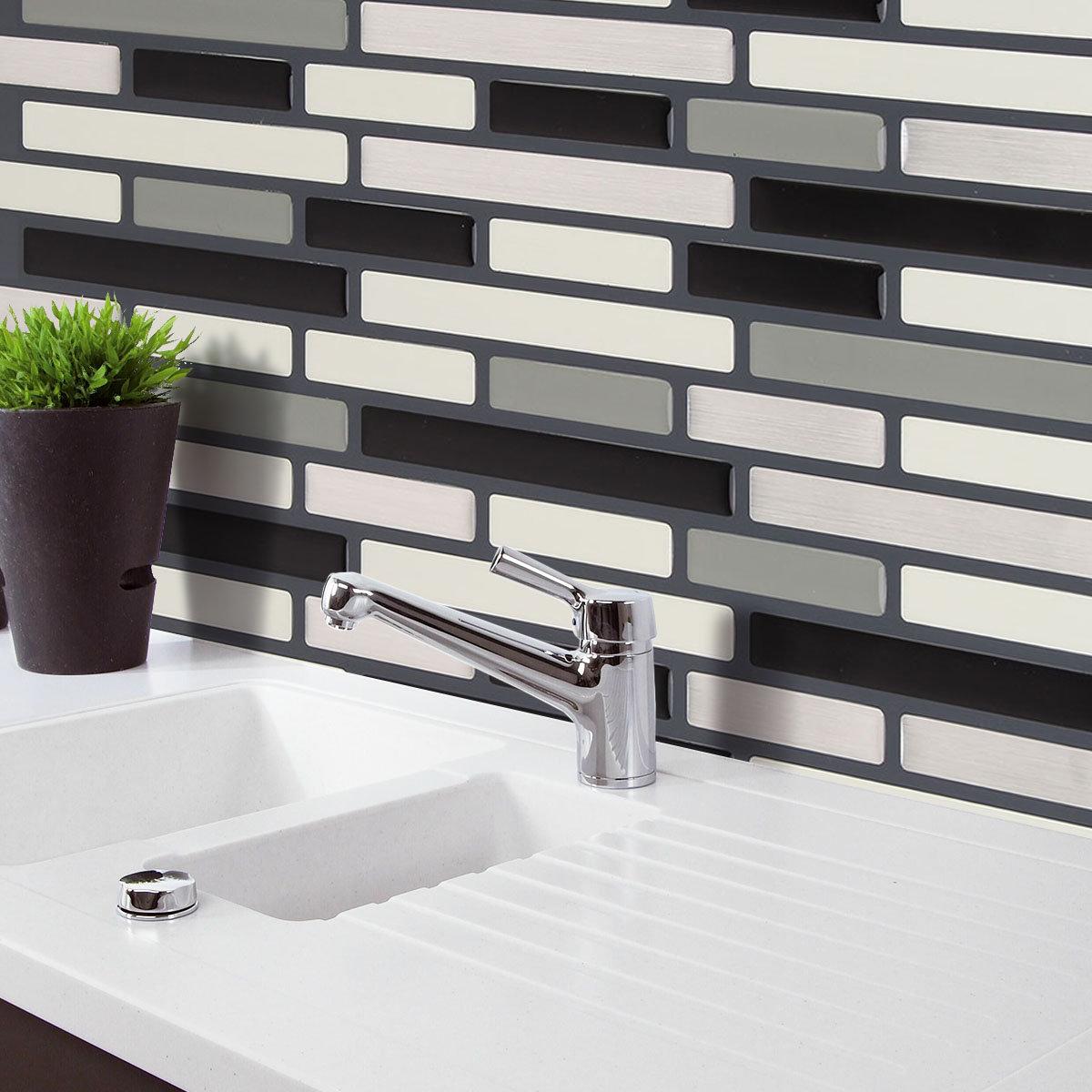 Black&Coffee 3D Mosaic Wall Stickers Backsplash Tile Wallpaper Home ...