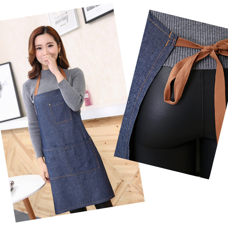 Simple Style Denim Kitchen Sleeveless Apron