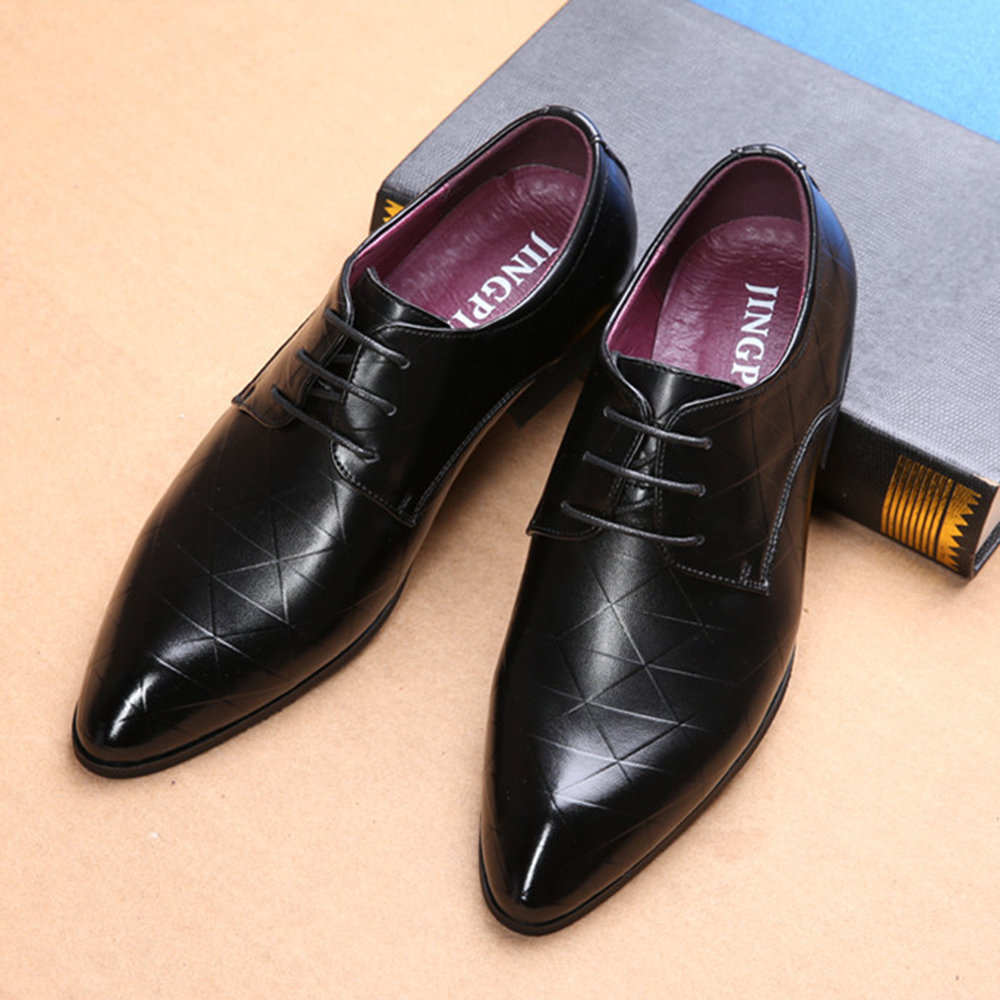 Men Leather Casual Formal Dress Shoes, Black brown
