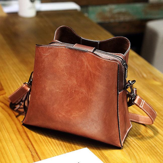bba594a9211e Women Vintage PU Leather Bucket Bags