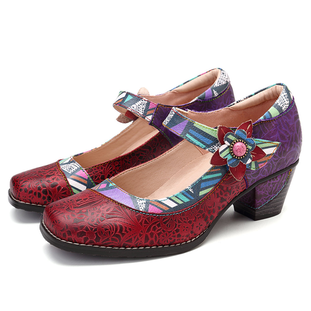 Colorful Floral Genuine Leather Pumps, Red