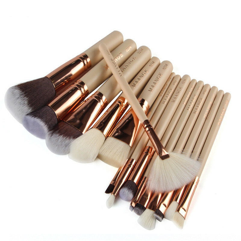 MAANGE 15Pcs / Set Professional Wooden Handle Foundatation Escovas de maquiagem Cosmetic Brush Kit