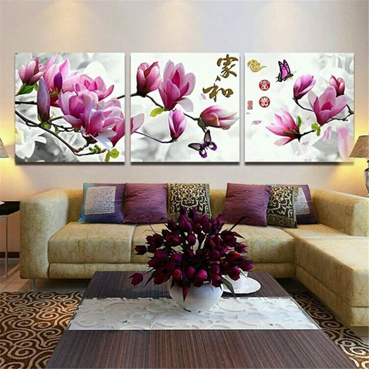 3Pcs Framed Flower Abstract Picture Canvas Print Paintings Home Wall Art  Decor. 3Pcs Framed Flower Abstract Picture Canvas Print Paintings Home