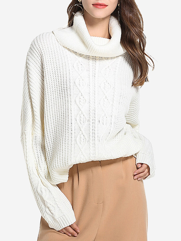 Weave Solid Color Turtleneck Sweaters, White black