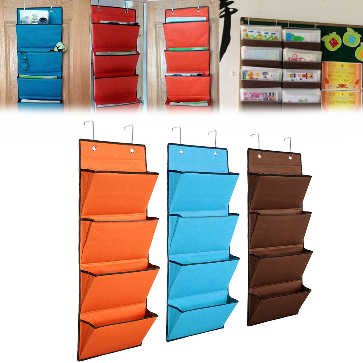 4 Tier Oxford Storage Bag Hanging Organiser Rack Clothes Wardrobe ...