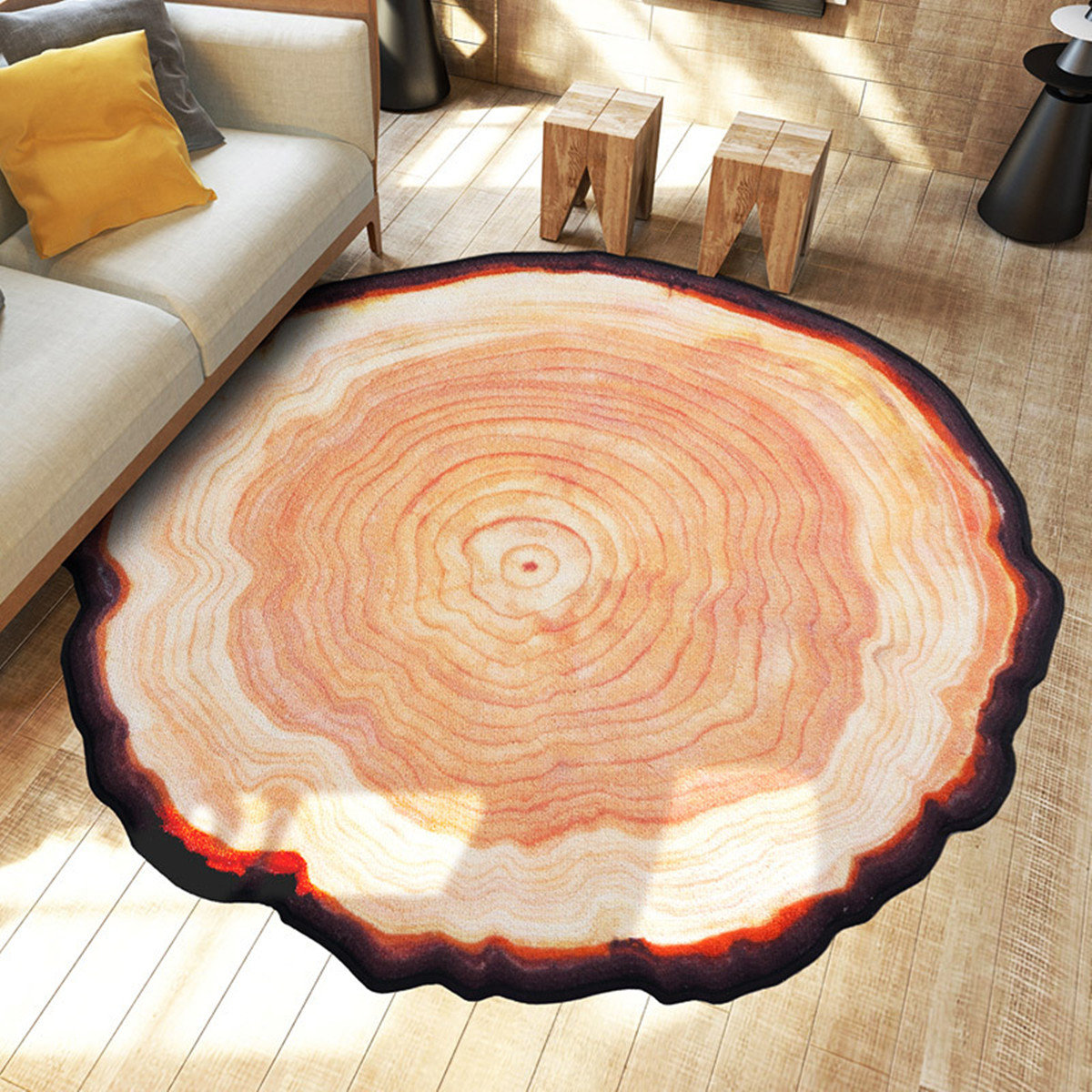 Non Slip Round Shaggy Fluffy Area Rug Floor Mat Living