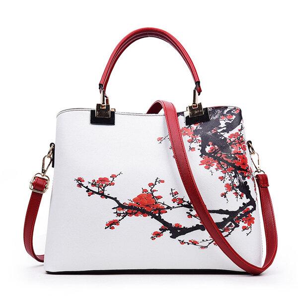 Women Flower Pattern National Style Shoulder Bag, Red black pink
