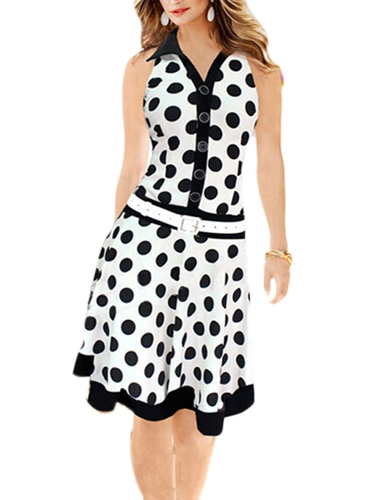 Polka Dot Single Breasted Lapel Retro Dresses
