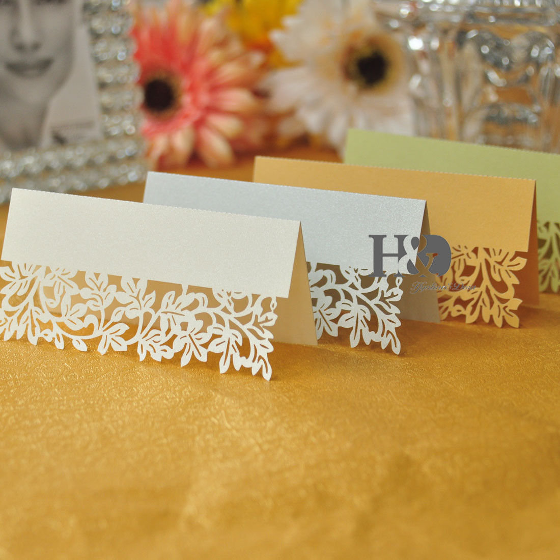 12Pcs Wedding Place Name Cards Leaf Personalised