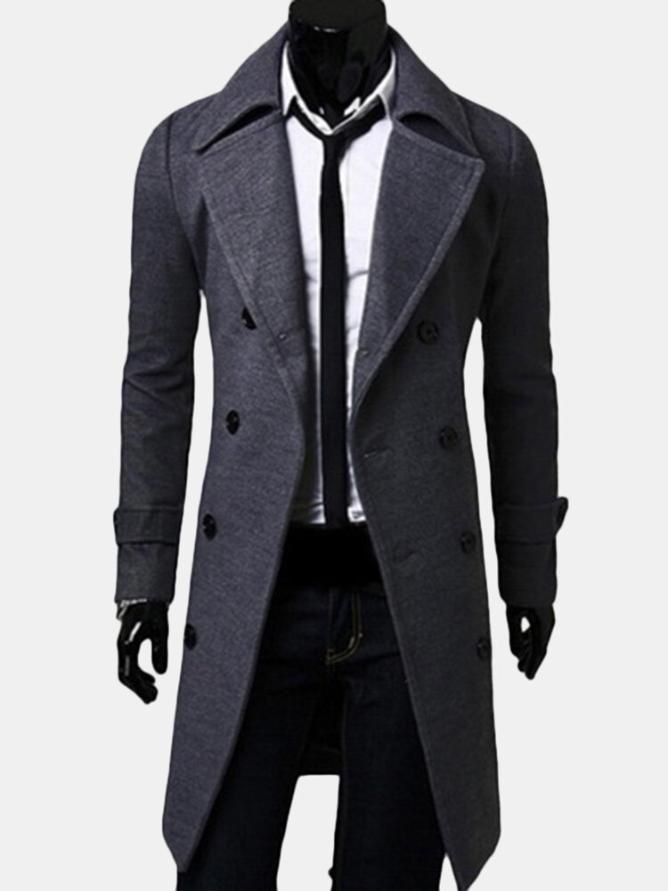 Mens Wool Mid-long Double Breasted Slim Fit Casual Business Trench Coat