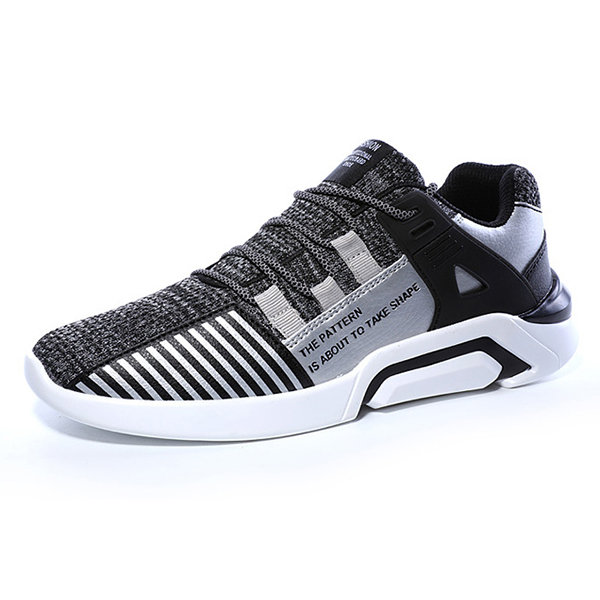 Large Size Knitted Fabric Light Weight Soft Running Sneakers, White grey