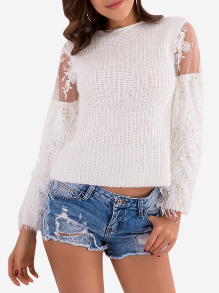 Long Sleeve Lace Patchwork Sweaters, White pink