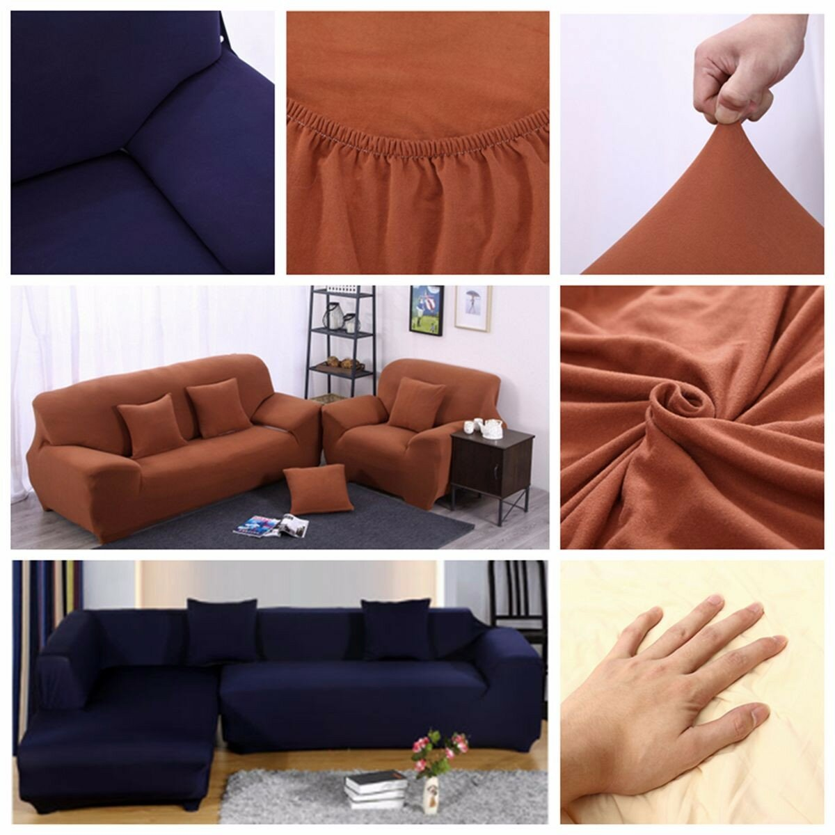 L Shape +3 Seat Stretch Elastic Fabric Sofa Cover Pet Dog SlipcoveFurniture  Protector
