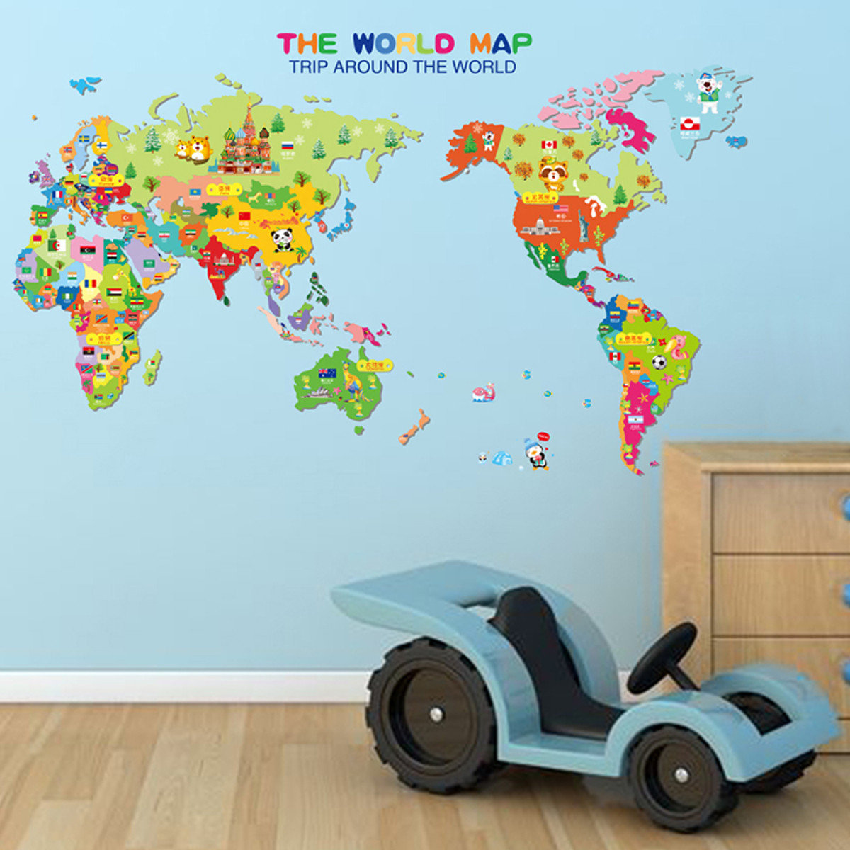 Kids colorful global world map animals wall stickers cartoon kids colorful global world map animals wall stickers cartoon children room decor amipublicfo Images