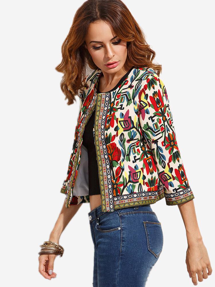 O Newe Women Ethnic Printed 3 4 Sleeve Jacket Newchic