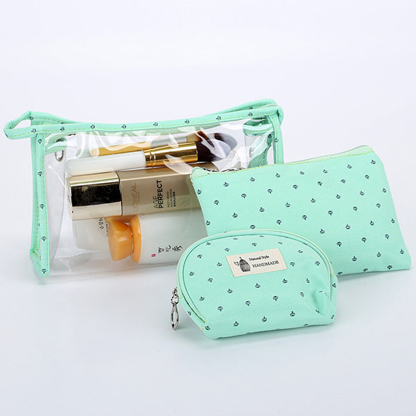 Women PVC Cosmetic Bag Three-Piece Package, Grey blue green
