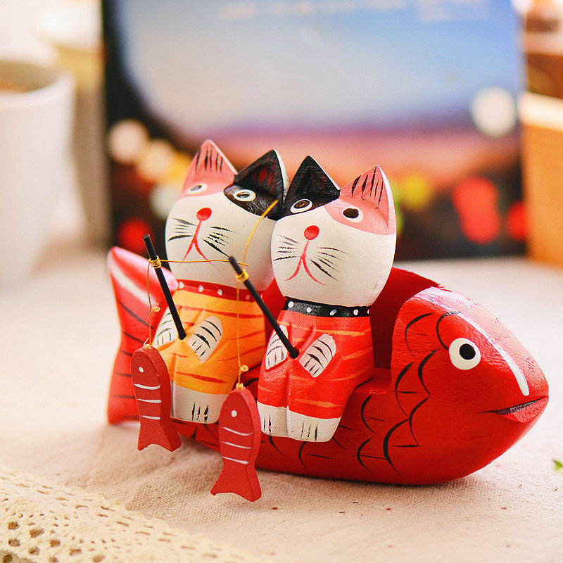 2Pcs Creative Wood Fishing Couple Cat Ornament Living Room Crafts Birthday  Gifts Home Office Decor